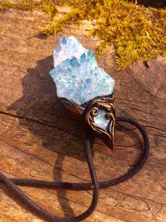 Aqua Aura Quartz and Australian Opal Raw Gemstone by lanternmoss