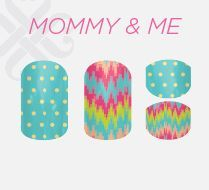 Jamberry Mommy and Me collection. Vinyl nail wraps that  safely bond to nails with gentle removal. Non toxic, safe for kids and even babies!