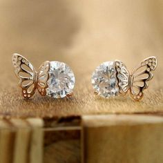 How nice Exquisite Elegant Winky Zircon Hollow Golden Butterfly Earrings ! I want to get it ASAP! How nice Exquisite Elegant Winky Zircon Hollow Golden Butterfly Earrings ! I want to get it ASAP! Animal Earrings, Cute Earrings, Vintage Earrings, Beautiful Earrings, Earrings Handmade, Elephant Earrings, Hoop Earrings, Ear Jewelry, Cute Jewelry