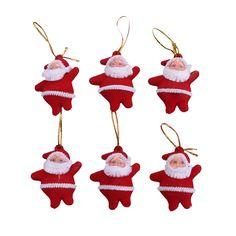 6pcs Christmas Tree Hanging Ornaments Decoration Mini Red Santa Father Xmas New