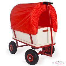Carretilla remolque carro de mano de jardín niños con cubierta de lona 150 kg