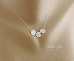 (may love this one the most) THREE Monogram Charm Necklace Tiny Initial Disc by hotmixcold, $38.00