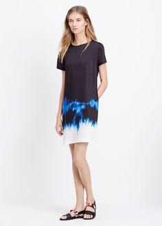 Tie Dye Short Sleeve Satin Dress | Vince