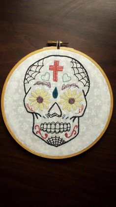 sugar skull hand embroidery hoop wall art