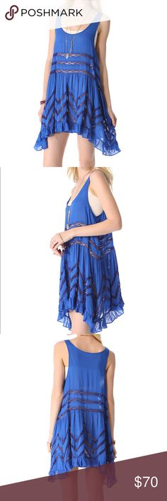 New Free People Blue Viola and Lace Trapeze XS Woman's Free People Intimately Blue Viola and Lace Trapeze Slip Size XS    Bust-16   Length-31.5 front 33.5 back Free People Dresses