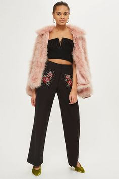Sequin Embellished Wide Leg Trousers