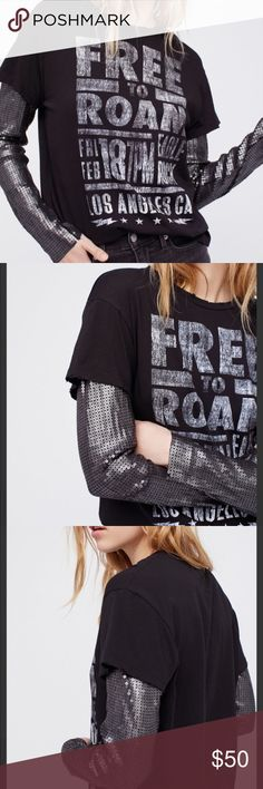 NWOT [Free People] Sequin Long Sleeve Graphic Tee Edgy layered tee featuring statement sequin long sleeves.  Faded graphic Subtle distressed trim Soft cotton tee  Approx Measurements: Bust : 41 in Length: 27.25 in Sleeve Length: 24 in New without tags, additional photos added soon Also available in white, Size medium. Posh Ambassador 5⭐️ seller//100+ sales No trades, No lowballing Free People Tops Tees - Long Sleeve