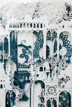 Paper cut from emmavanleest kirigami, art texture, paper magic, amazing art Paper Cutting, Cut Paper, Paper Lace, Paper Cut Outs, Up Book, Book Art, Papercut Art, Arte Peculiar, Papier Diy