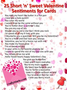 25 short and sweet Valentine sentiments for handmade cards and crafts. Lots of inspiration for projects you can make.