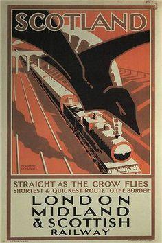 SCOTLAND-STRAIGHT AS THE CROW FLIES vintage ad poster N HOWARD uk 1924 24X36