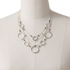 Candie's Silver Tone Circle Link Multistrand Necklace