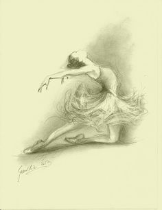 Limited Edition 8 x 12 print on CREAM PAPER of original pencil drawing by Ewa Gawlik Ballerina Sketch, Ballerina Art, Ballet Art, Ballet Drawings, Dancing Drawings, Easy Drawings, Pencil Drawings, Splash Art, Ballet Painting