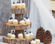 Rustic Wood Tree Slice 3-tier Cake and Cupcake by postscripts