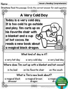 January Reading Comprehension Passages for Kindergarten and First Grade I hope that your students will enjoy these no prep January themed reading passages! Included are a mix of twenty fiction and nonfiction sigh 1st Grade Reading Worksheets, First Grade Reading Comprehension, Phonics Reading, Reading Comprehension Worksheets, Reading Passages, Kindergarten Reading, Comprehension Strategies, Reading Response, Preschool Worksheets