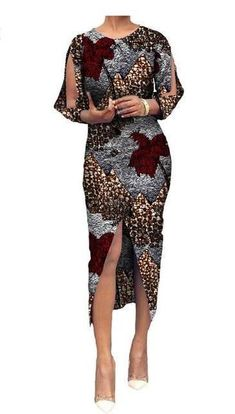 Batik Three-Quarter Sleeve Mid-Calf Dress #AfricanFashion