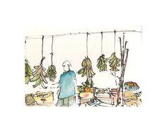 Watercolor print: Puesto en Plaza del Mercado by estudioarbitrario