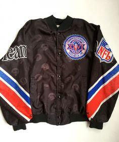 1992 Super Bowl XXVI Chalkline НФЛ Fanimation Jacket Размер Большой | Редкие Vntg