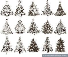 новогодние елки, ели, новогодняя елка, ель, Новый год, черно - белые рисунки в векторе, EPS