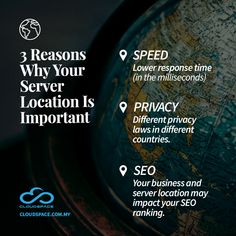 Speed - Lower response time (in the milliseconds) Privacy - Different privacy laws in different countries. SEO - Your business and server location may impact your SEO ranking Cloud Infrastructure, Seo Ranking, Different Countries, Cyber Attack, Business Emails