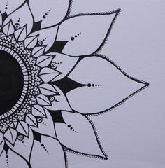 Mendhi Sunflower Black & White Ink Original by melaniehazen