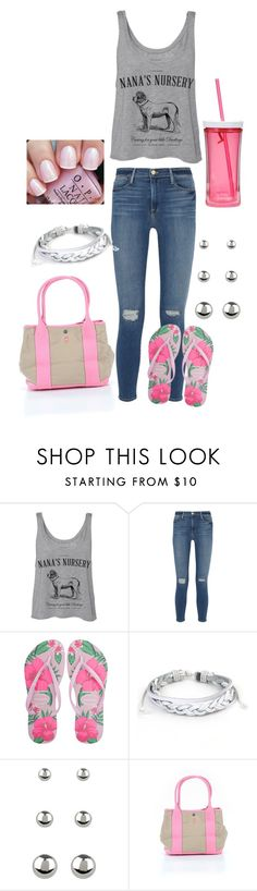 """""""Untitled #179"""" by skylovessave ❤ liked on Polyvore featuring Nana', Frame, Havaianas, West Coast Jewelry, Accessorize, OPI, J.Crew and Contigo"""