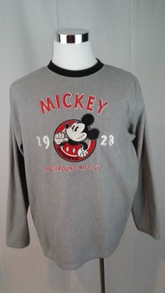 Unisex  DISNEY MICKEY MOUSE long sleeve fleece Sweatshirt shirt Medium  #Disney #SweatshirtCrew