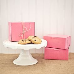 Pink Bakery Boxes as seen in Martha Stewart Weddings Magazine | Petite Party Studio