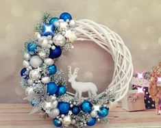 Items similar to White and red Christmas wreath, Red and silver door wreath, Deer Christmas wreath, White natural wicker wreath with decor, Holiday Wreath on Etsy - adventskranz ideen Silver Christmas Decorations, Christmas Mantels, Christmas Deer, Christmas Centerpieces, Handmade Christmas, Christmas Crafts, Christmas Balls, White Christmas, Vintage Christmas