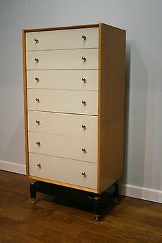Vintage Retro 1950s G Plan Oak & Chinese White Chest of Drawers / Tallboy 60s | eBay