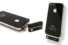 iFlash = iPhone attachment to use as an LED Flashlight or bright camera flash. Avail in black or white.