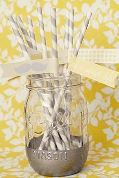 love the colors and the straws! spraying the bottom of the mason jar was a good idea