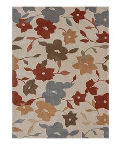 Take a look at this Cream & Blue Floral Grant Rug by Loloi Rugs on #zulily today!