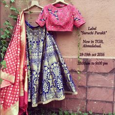 Hola! We are now exhibiting our latest collection from casuals to bridal wear at Ahmedabad .Banarasi silk has become our recent addiction! And we just cannot come over it! Amalgamation of indiantextile with indiancraft For enquiry mail us at suruchiparakh@gmail.com or whtsapp us on +919537165033 bride bridesmaid wedding weddingasia indianwedding wardrobeessential styleit couture vogue banarasisilk banrasilehenga handwork hardwork contrastingcolors womenswear newcollection d
