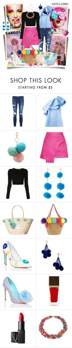 """""""Crazy colorful pom pom look"""" by annagiro ❤ liked on Polyvore featuring Ashish, J Brand, VIVETTA, Under One Sky, Maiyet, Rosetta Getty, Vanessa Mooney, Privileged, BaubleBar and Tom Ford"""