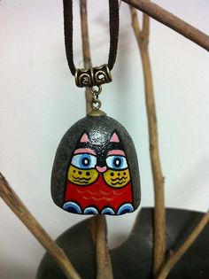stone necklace pendant handpainted stone Ultrafine by Bloobling, $20.00