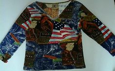 Don't Mess With Texas Brand Theme Flag Cowgirl Beaded Bling Shirt womens SZ L