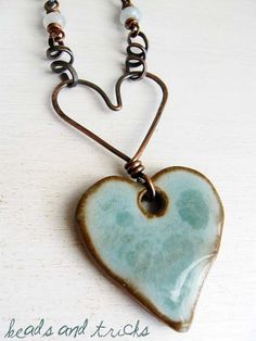 Heart necklace (clay pendant from Buttonmad, South Africa)