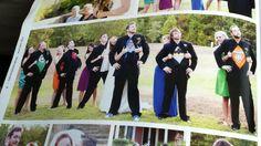 "Bridesmaids and corresponding groomsmen in ""matching"" superhero/superhero colors."
