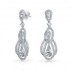 Bling Jewelry Gatsby Inspired Teardrop CZ Chandelier Bridal Dangle Earrings