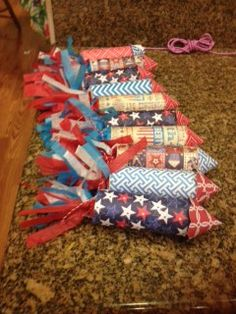 4th of July Crackers made with TP rolls & tissue paper for streamers