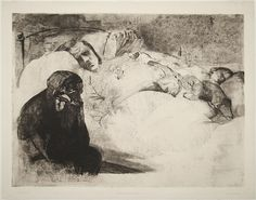 Käthe Kollwitz, Arbeitslosigkeit (Unemployment), etching with aquatint & drypoint, 1909