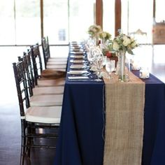 navy wedding. We could flip this so that the table cloth is white but the runner is blue. No burlap.