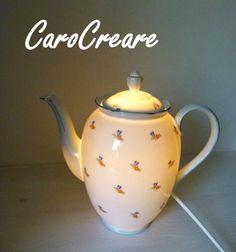 Kaffeekanne  Lampe aus wunderschönem alten Porzellan