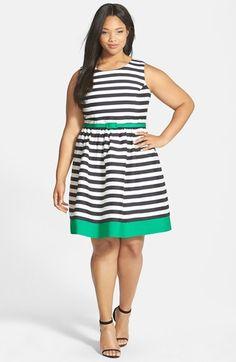 Eliza J Contrast Trim Stripe Jacquard Fit & Flare Dress (Plus Size) available at #Nordstrom