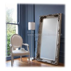 Jennifer Mirror - Ornate Silver Full Length Decorative Mirror [mm336] - 294.40 : Midnight Mirrors - We Sell Quality Mirrors Nationwide