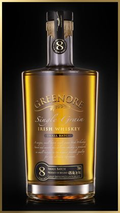 Greenore Single Grain Irish Whiskey, the only expression of an Irish Single Grain whiskey in the world. Rum Bottle, Liquor Bottles, Whiskey Bottle, Cigars And Whiskey, Scotch Whiskey, Alcohol Spirits, Strong Drinks, Malt Whisky, Bottle Design