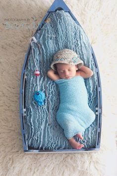 Crochet Baby Boy Fisherman Set, Custom Made To Order Handmade Newborn Photo Photography Prop Baby Shower Gift Beanie Cap via Etsy