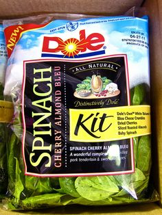 Dole spinach cherry almond bleu - I finally found a salad that I love. About 200 calories for 1/2 a bag.