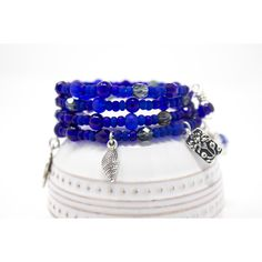 Cobalt Blue Charm Bracelet, Deep Blue Memory Wire Bracelet, Unique... ($25) ❤ liked on Polyvore featuring jewelry and bracelets