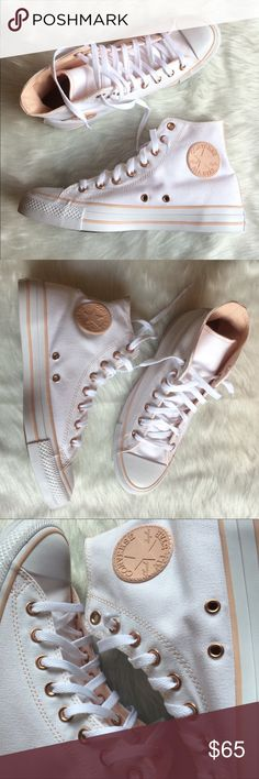 9717ef0a2d47 CONVERSE WOMENS SIZE 10 WHITE ROSE GOLD SHOES Shoes are custom made from  the Nike website